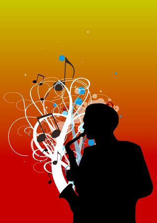 Illustration of a man playing the saxophone Stock Illustration - 2900874