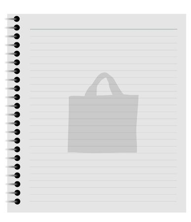 Illustrated notepad with a faint image of a shopping bag on the page Stock Photo - 2950553