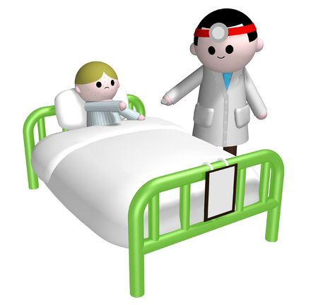 medicate: Illustration of a doctor handing out a pill to a sick child