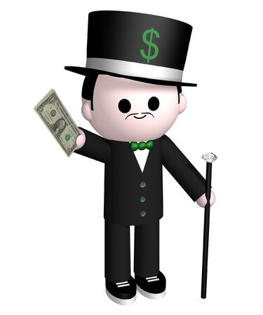 wealthy man: Illustration of a wealthy man holding out dollar bills Stock Photo