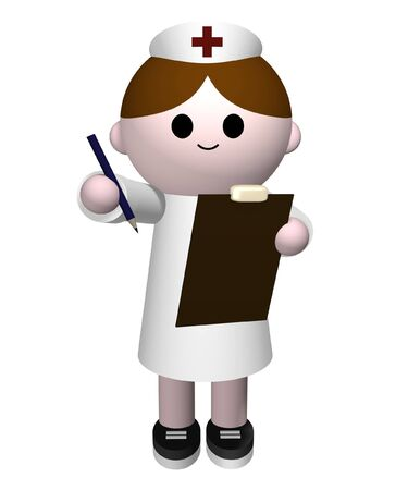 medical clipboard: Illustration of a nurse holding a clipboard and pencil Stock Photo