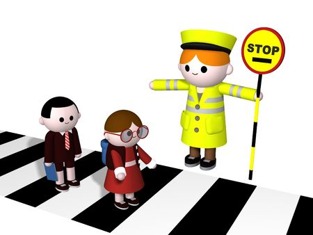 3D illustration of a lollipop Lady guiding two children across a zebra crossing
