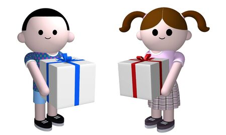 swapping: 3D illustration of a boy and girl holding presents