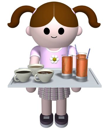 cordial: 3D illustration of a girl serving hot and cold  drinks on a tray