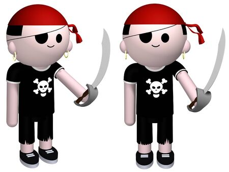 3D illustration of a boy dressed up as a pirate Stock Illustration - 3048910