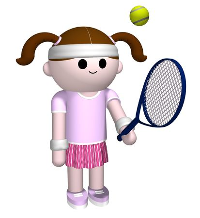 girl tennis: 3D illustration of a girl playing tennis