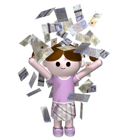 3D illustration of a girl being showered in money illustration