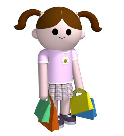 3D illustration of a girl holding shopping bags Stock Photo