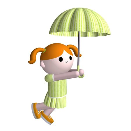 3D illustration of a girl holding an umbrella Stock Illustration - 3159838