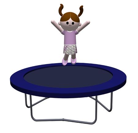 trampoline: 3D illustration of a Girl jumping on a trampoline Stock Photo