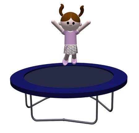 3D illustration of a Girl jumping on a trampoline illustration