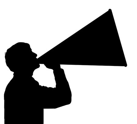 loud: Black and white illustration of a man using a megaphone Stock Photo