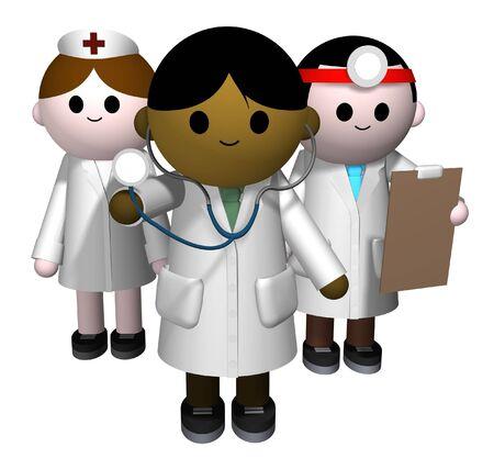 medico caricatura: 3D ilustraci�n de un equipo de profesionales de la medicina