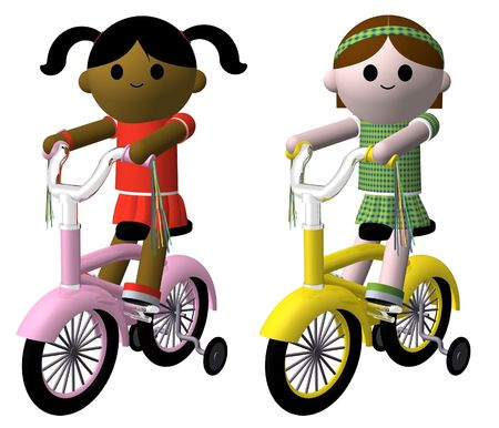 asian friends: Illustration of two girls riding bikes Stock Photo