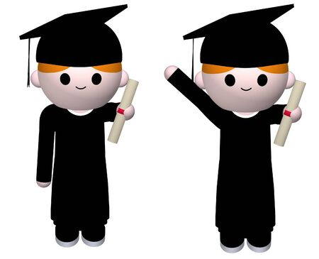 3D illustration of a graduate in different poses Stock Illustration - 4381811
