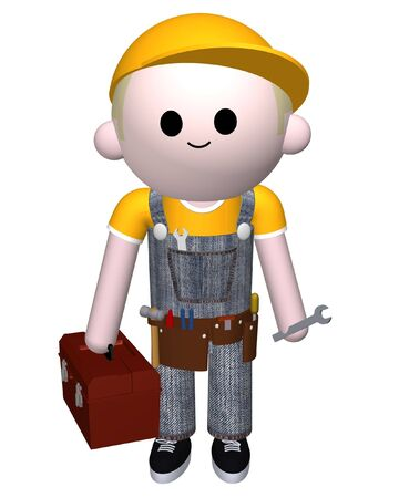 3D illustration of a man with toolbox and tools illustration