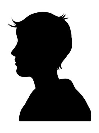 black boy: Silhouette of a male or female head on a white background