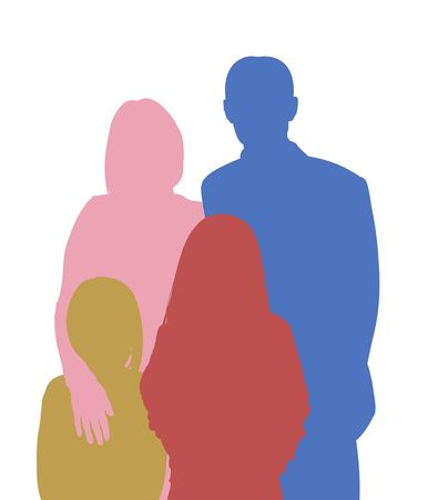 fostering: Illustration of a family of four