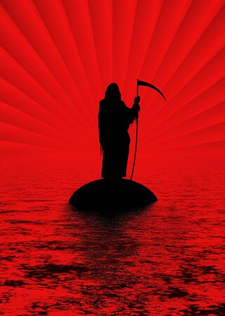 Silhouette of the Grim Reaper on an island photo