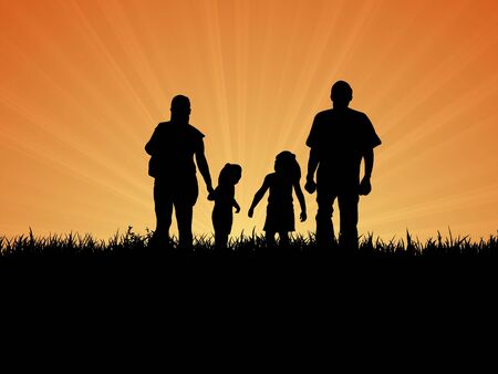 sibling: Illustration of a Silhouette family taking a walk outside