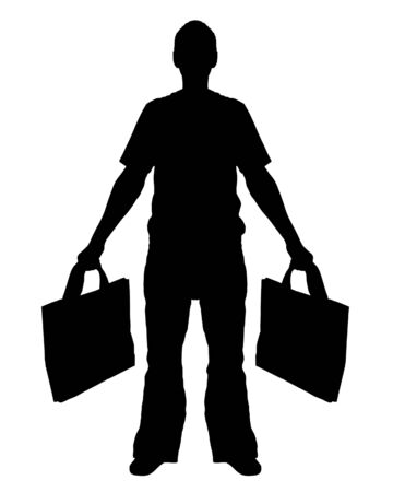 man carrying: Illustrated Silhouette of a Man Shopping