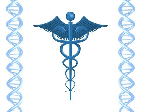 double helix: Illustration of D.N.A and Health symbol