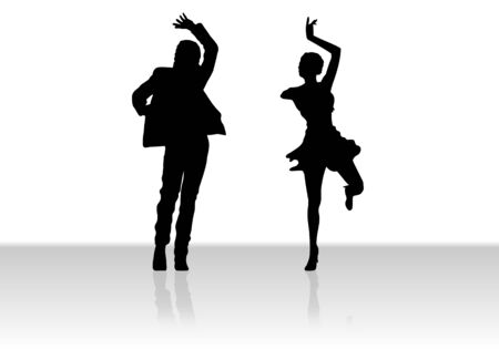 Illustration of a couple dancing Stock Illustration - 6444258