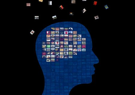 Illustration of a persons head showing the brain made from images that are floating away Stock Illustration - 6480951