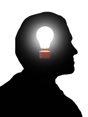 Illustration of a man with a light bulb in his head illustration