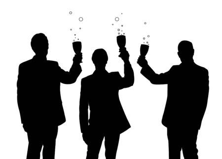 Illustration of three business men holding drinks Stock Illustration - 6516234