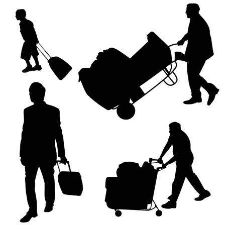 Illustration of various people pushing and pulling luggage illustration