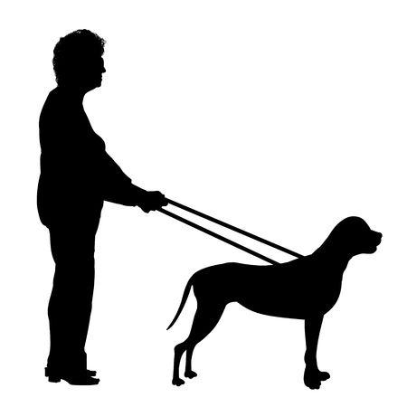 Ilustración de una mujer siendo guiada por un perro