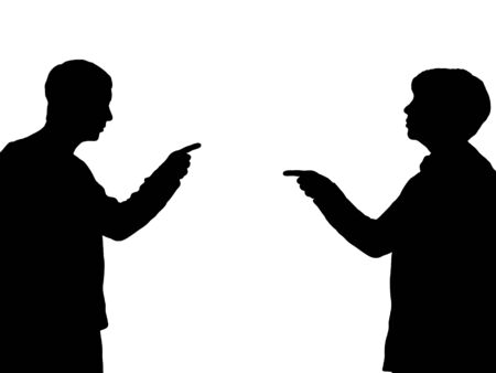 Illustration of a male and female pointing towards one another Stock fotó