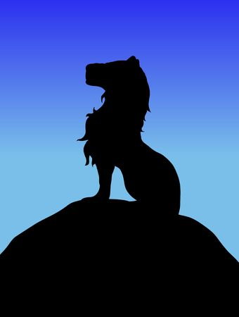 Silhouette of a Lion sitting on top of a hill Stock Photo - 6641888