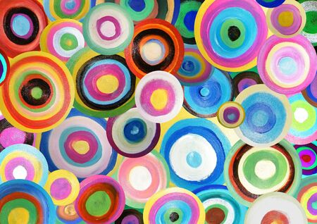 Illustration of many bright colourful painted circles Stock Photo