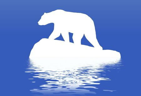 bear silhouette: Illustrated polar bear standing on a block of ice