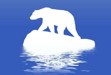 polar: Illustrated polar bear standing on a block of ice