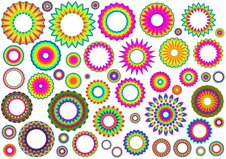 Many colourful shapes and patterns over a white background Stock Photo - 6759734