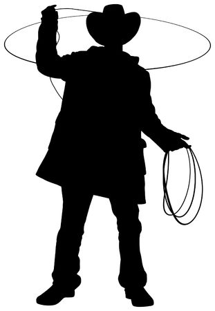 loops: Illustration of a cowboy using a lasso