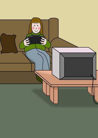Ilustración de una persona jugando a un juego de video Foto de archivo - 6759740