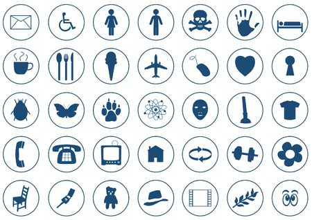 35 Various Icons on white background. Each icon is 410x410 pixels photo