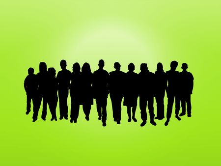 Illustrated crowd of people over a green background photo