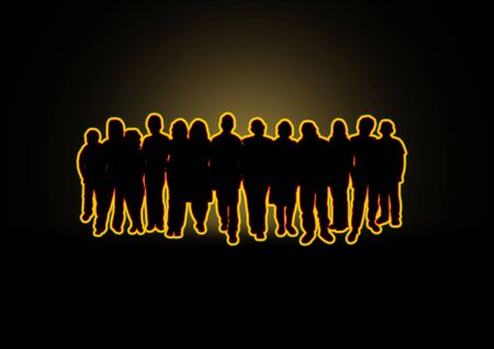 diverse group: Illustration of a crowd of people with a glowing effect