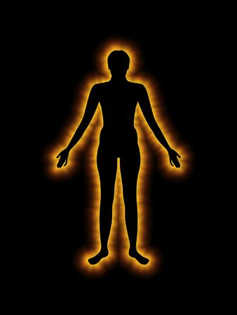 male body: Illustration of a silhouette Glowing human Stock Photo