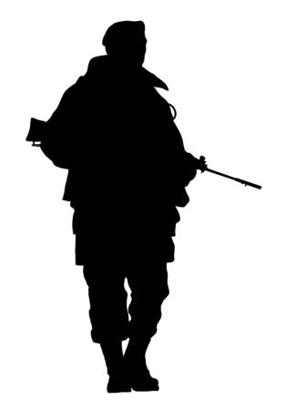 deployed: Illustration of a soldier over a white background Stock Photo