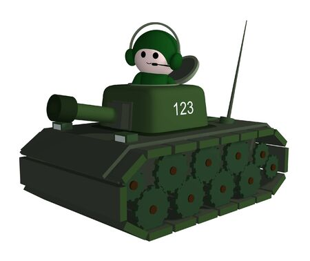 Illustration of a person driving a tank illustration
