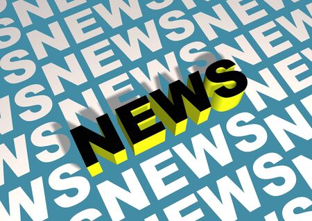 elevated: News text with one elevated Stock Photo