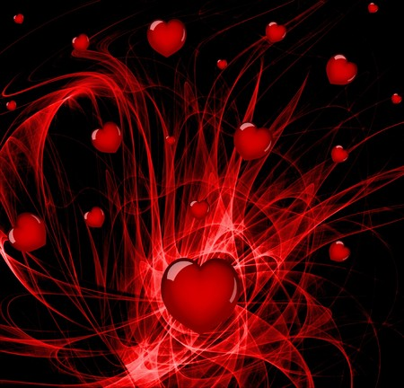 love explode: Lots of hearts over a red abstract background