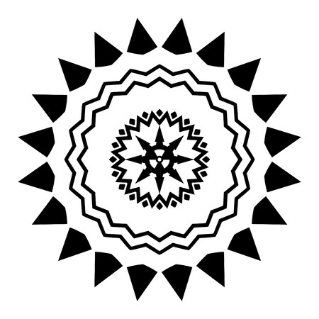 nuclear icon: Illustrated black and white design with a radiation symbol in the middle Stock Photo