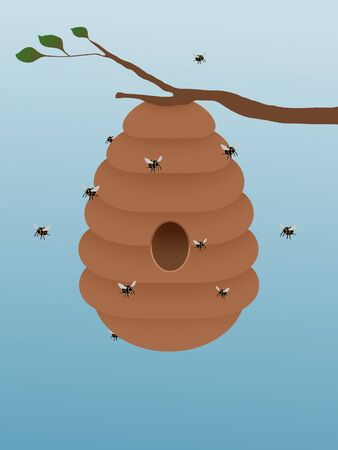 bee hive: Illustration of a beehive hanging from a tree branch with bees flying around